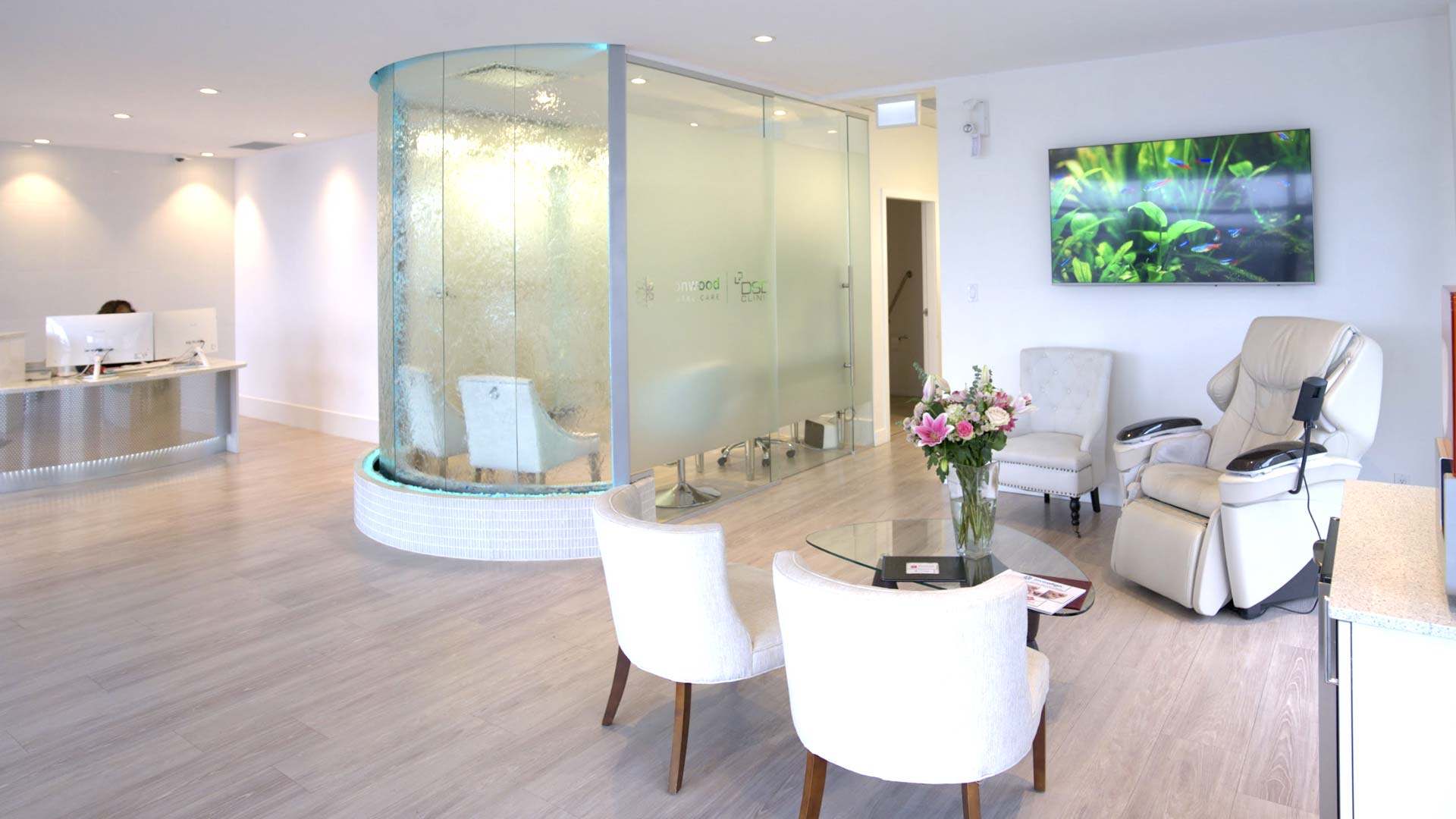 The reception and waiting area at Ironwood Dental Care with comfortable chairs and waterfall feature.