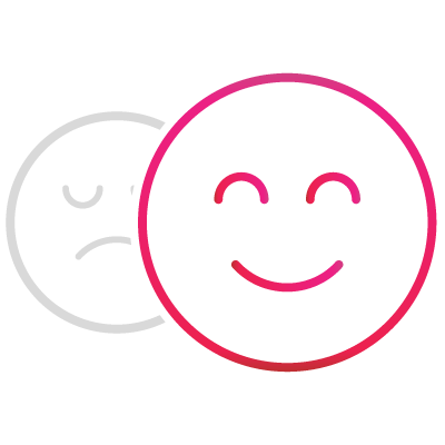 An icon of an unhappy face changing to a happy one.
